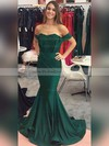 Trumpet/Mermaid Off-the-shoulder Sweep Train Jersey Ruffles Prom Dresses #PDS020104844