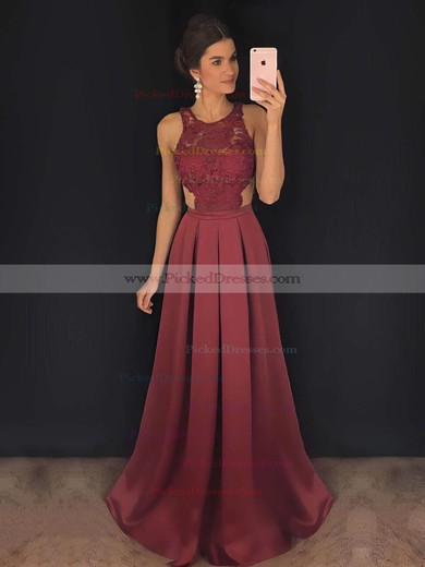 A-line Scoop Neck Sweep Train Satin Lace Prom Dresses #PDS020104848