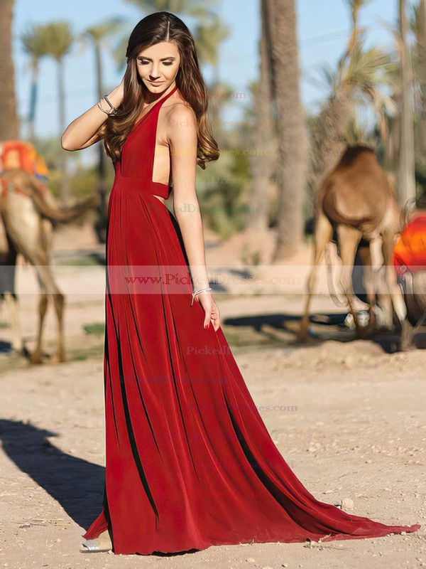 A-line Halter Floor-length Chiffon Draped Prom Dresses #PDS020104859