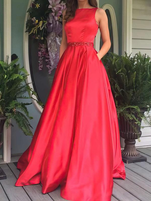Princess Scoop Neck Floor-length Satin Beading Prom Dresses #PDS020104862