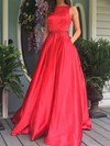 Princess Scoop Neck Floor-length Satin Beading Prom Dresses #PDS020104862