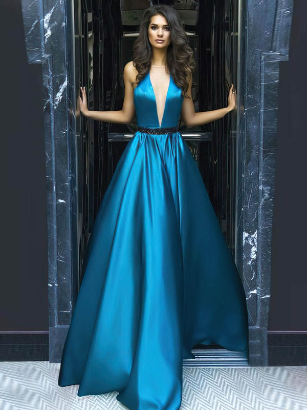 Princess Scoop Neck Court Train Satin Beading Prom Dresses #PDS020104864