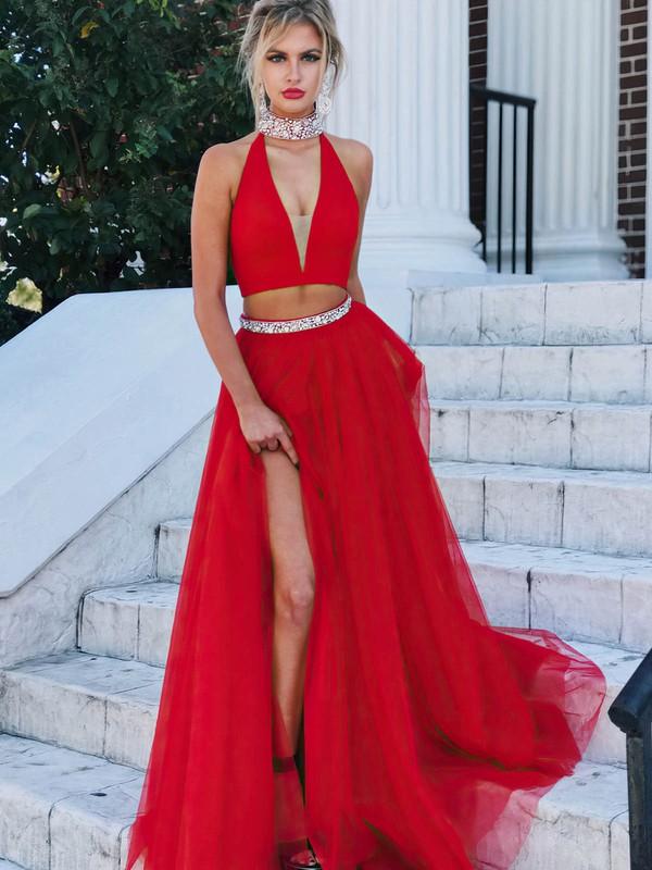 A-line V-neck Floor-length Tulle Beading Prom Dresses #PDS020104875
