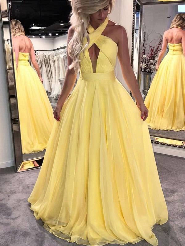 Princess Halter Floor-length Chiffon Prom Dresses #PDS020104877