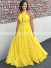 Princess Halter Floor-length Chiffon Prom Dresses #PDS020104877