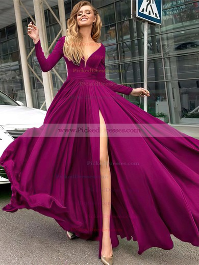 A-line V-neck Floor-length Satin Chiffon Prom Dresses #PDS020104878
