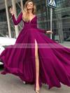 A-line V-neck Floor-length Satin Chiffon Prom Dresses #PDS020104878