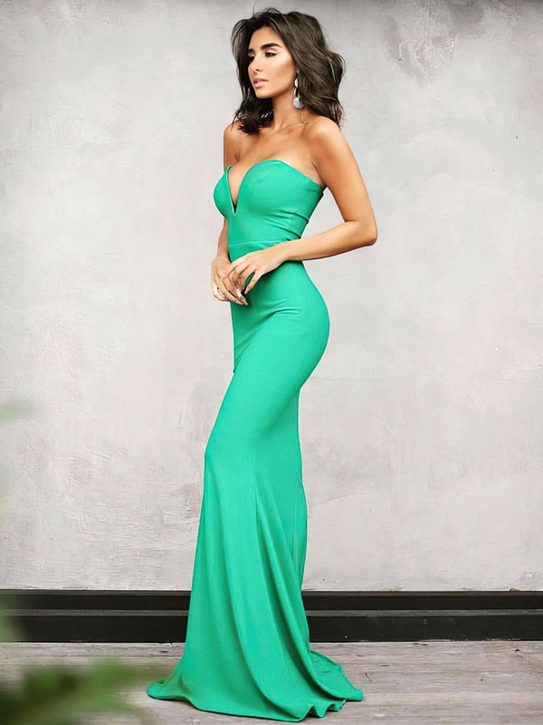 Trumpet/Mermaid V-neck Floor-length Jersey Draped Prom Dresses #PDS020104889