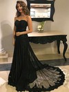 A-line Sweetheart Sweep Train Tulle Appliques Lace Prom Dresses #PDS020104894