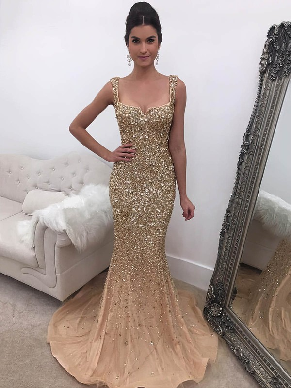 Trumpet/Mermaid Square Neckline Sweep Train Tulle Beading Prom Dresses #PDS020104899