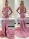 Trumpet/Mermaid Scoop Neck Sweep Train Tulle Beading Prom Dresses #PDS020104902