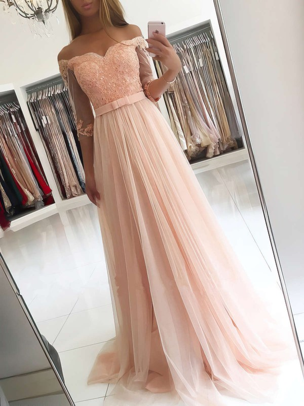A-line Off-the-shoulder Floor-length Tulle Appliques Lace Prom Dresses #PDS020104905