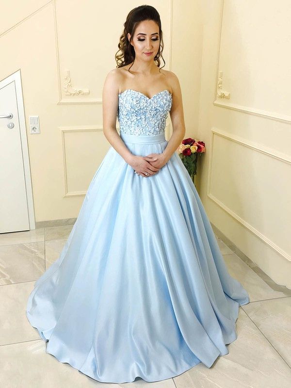 Princess Sweetheart Floor-length Satin Beading Prom Dresses #PDS020104912