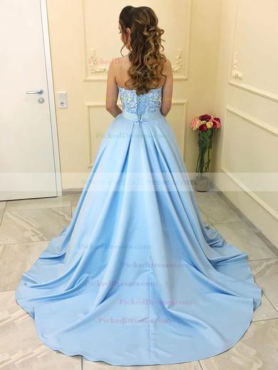 Princess Sweetheart Floor-length Satin Beading Prom Dresses #PDS020104912