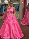 Princess Halter Sweep Train Satin Beading Prom Dresses #PDS020104913