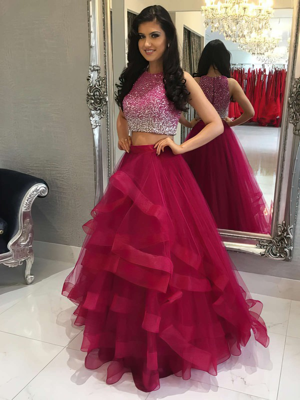 A-line Scoop Neck Floor-length Tulle Tiered Prom Dresses #PDS020104914