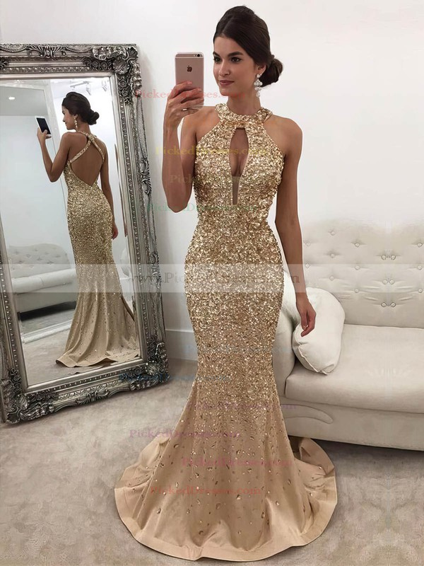 Trumpet/Mermaid Halter Sweep Train Beading Prom Dresses #PDS020104916