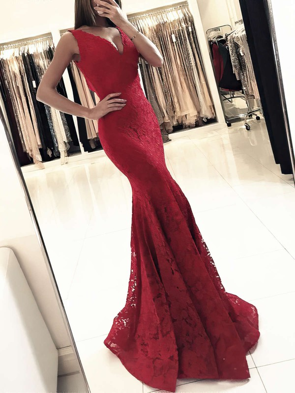 Trumpet/Mermaid V-neck Floor-length Lace Prom Dresses #PDS020104918