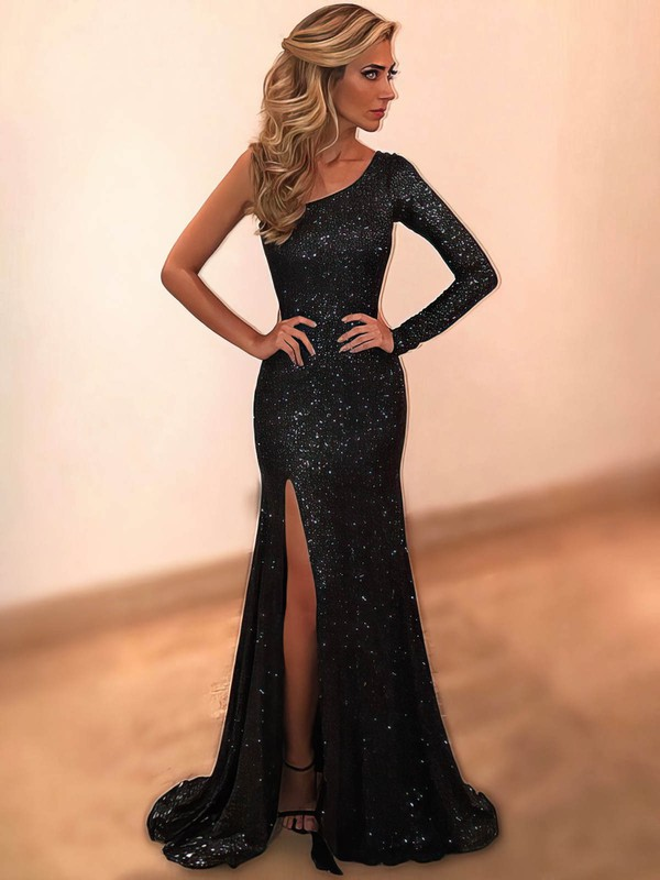 Sheath/Column One Shoulder Floor-length Sequined Split Front Prom Dresses #PDS020104923