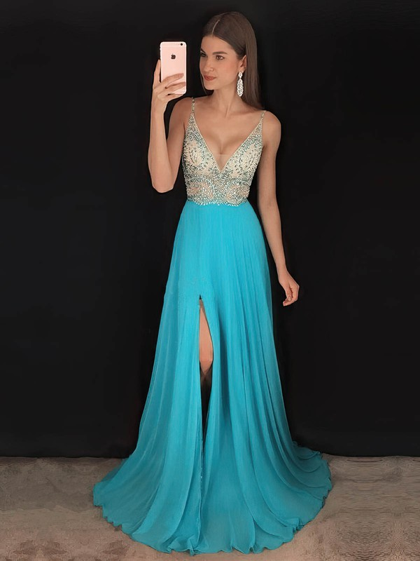 A-line V-neck Sweep Train Chiffon Beading Prom Dresses #PDS020104925