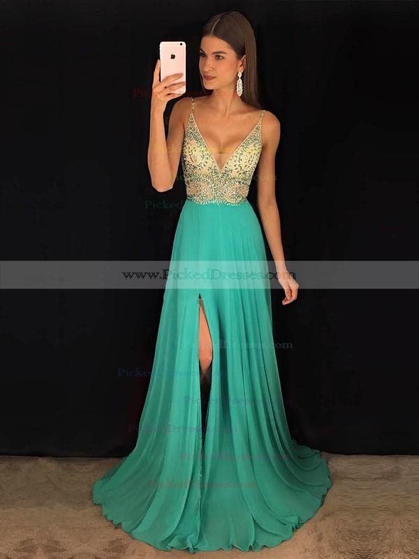 A-line V-neck Sweep Train Chiffon Beading Prom Dresses #PDS020104925