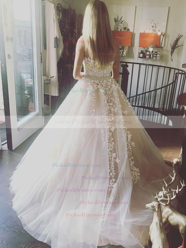 Princess Strapless Floor-length Tulle Appliques Lace Prom Dresses #PDS020104927
