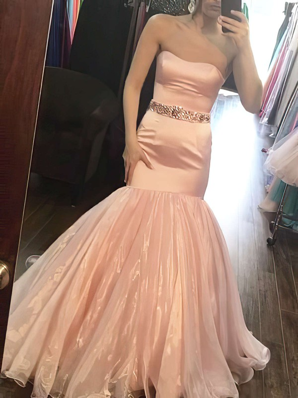 Trumpet/Mermaid Sweetheart Floor-length Organza Beading Prom Dresses #PDS020104937