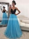 A-line V-neck Floor-length Tulle Beading Prom Dresses #PDS020104942