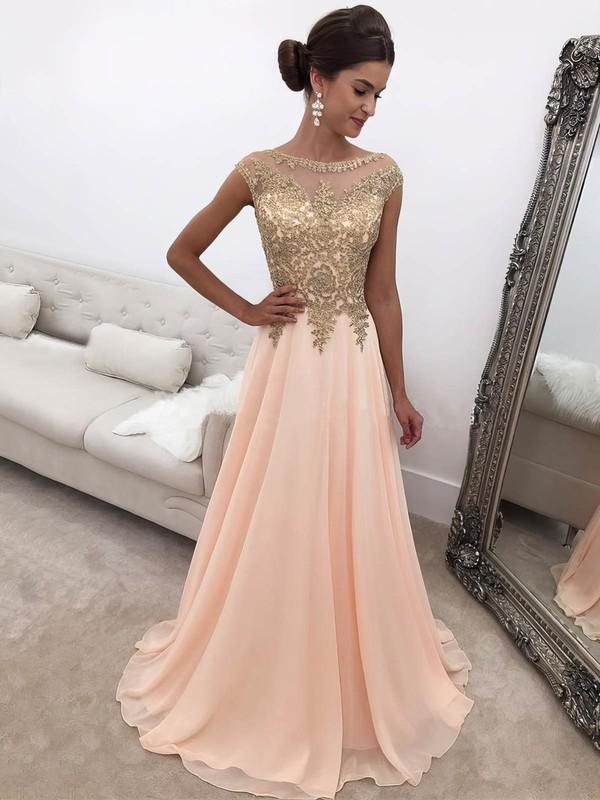 Princess Scoop Neck Sweep Train Chiffon Appliques Lace Prom Dresses #PDS020104946