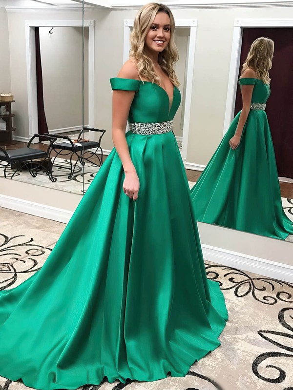 Princess Off-the-shoulder Sweep Train Satin Beading Prom Dresses #PDS020104954