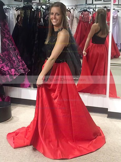 A-line Halter Sweep Train Satin Appliques Lace Prom Dresses #PDS020104957