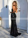 Sheath/Column Sweetheart Sweep Train Sequined Sequins Prom Dresses #PDS020104962