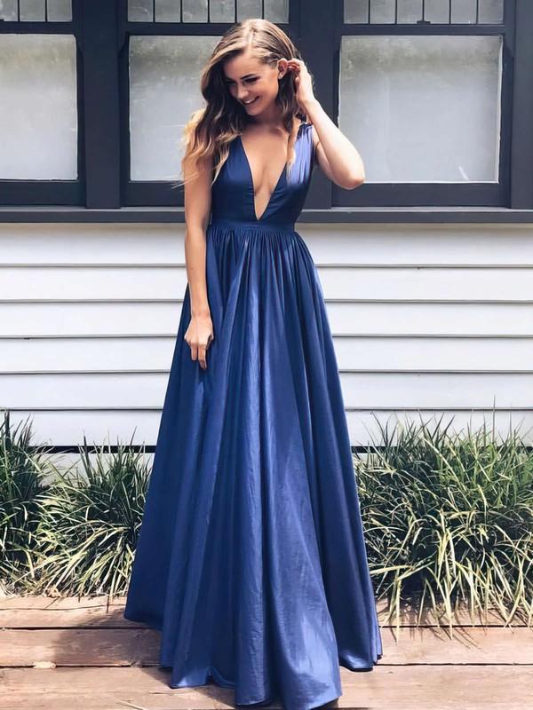 A-line V-neck Floor-length Taffeta Draped Prom Dresses #PDS020104807