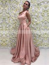 A-line One Shoulder Sweep Train Satin Prom Dresses #PDS020104815