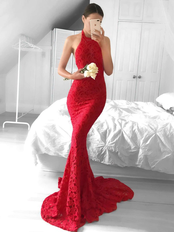 Trumpet/Mermaid Halter Sweep Train Lace Prom Dresses #PDS020104818