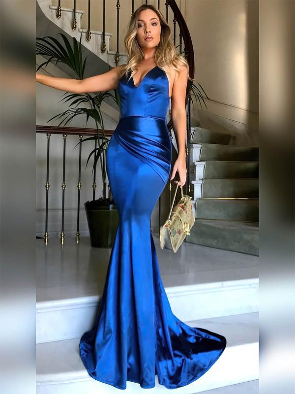 Trumpet/Mermaid V-neck Sweep Train Ruffles Prom Dresses #PDS020104819