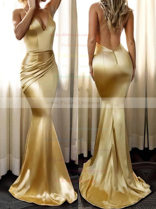 Trumpet/Mermaid V-neck Sweep Train Ruffles Prom Dresses #PDS020104819