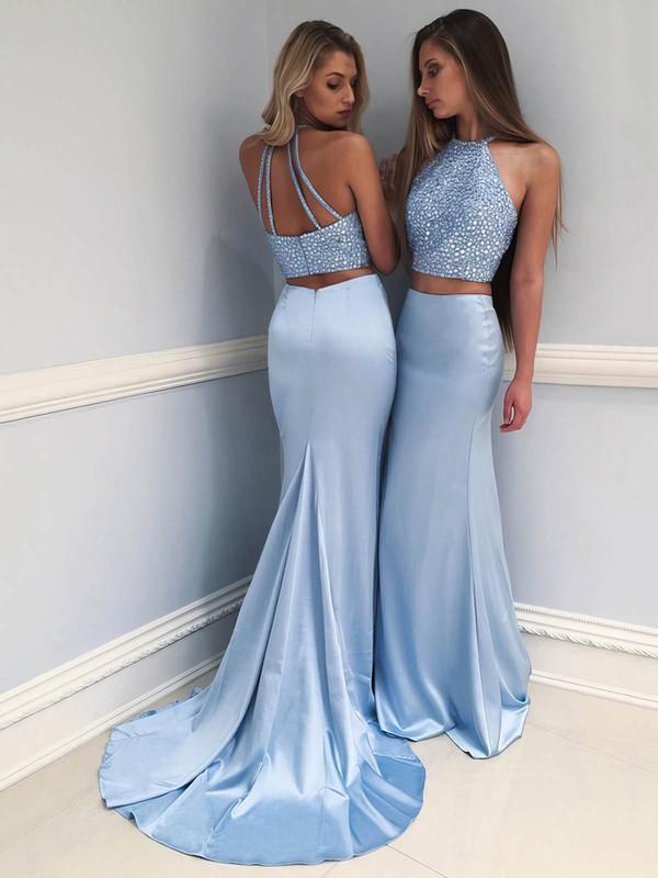 Trumpet/Mermaid Scoop Neck Sweep Train Beading Prom Dresses #PDS020104821