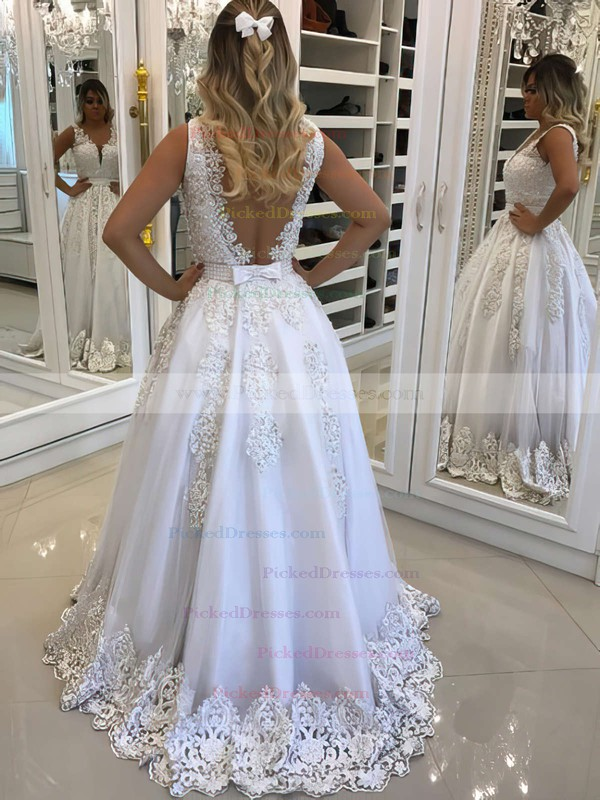 Princess V-neck Sweep Train Tulle Beading Prom Dresses #PDS020104828