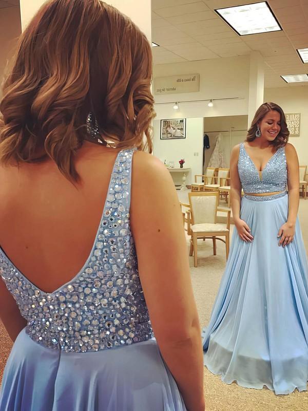 A-line V-neck Floor-length Chiffon Beading Prom Dresses #PDS020104967