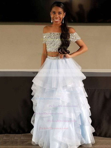 A-line Off-the-shoulder Floor-length Organza Beading Prom Dresses #PDS020104975