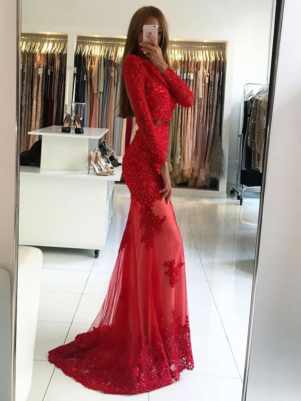 Sheath/Column Scoop Neck Sweep Train Tulle Appliques Lace Prom Dresses #PDS020104976