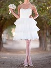 White Tiered Organza Good Ball Gown Lace-up Short/Mini Wedding Dresses #PDS00020492