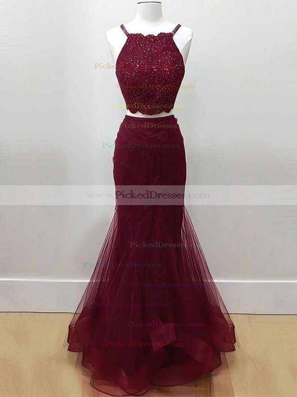 Trumpet/Mermaid Halter Floor-length Tulle Tiered Prom Dresses #PDS020104980