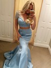 Trumpet/Mermaid V-neck Sweep Train Satin Beading Prom Dresses #PDS020104988
