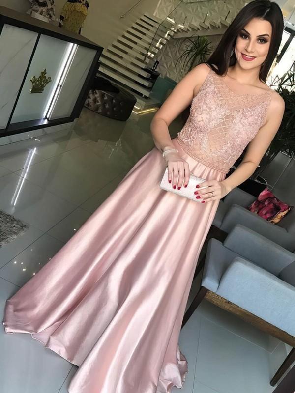 A-line Scoop Neck Sweep Train Satin Appliques Lace Prom Dresses #PDS020104990