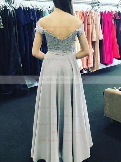 A-line Off-the-shoulder Floor-length Satin Chiffon Appliques Lace Prom Dresses #PDS020105002