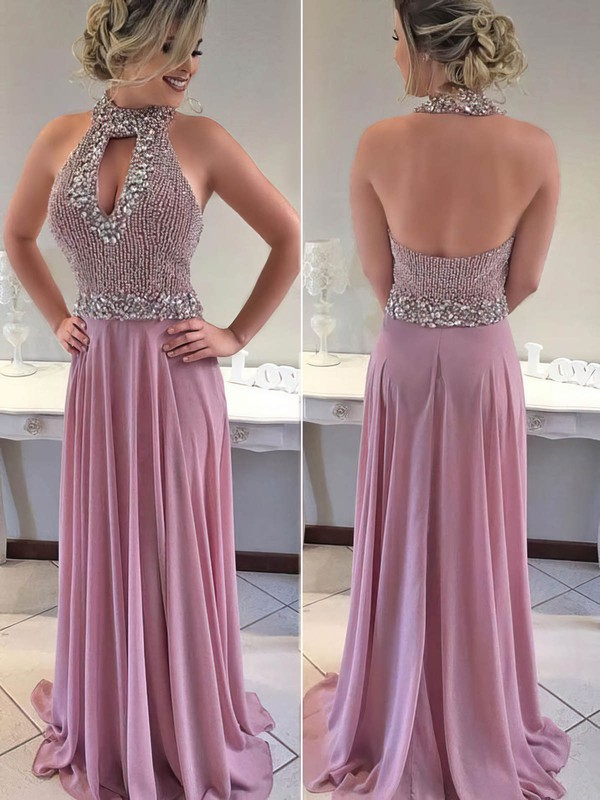 A-line Halter Sweep Train Chiffon Beading Prom Dresses #PDS020105005