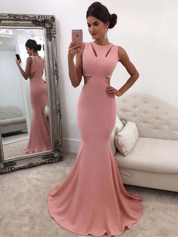 Trumpet/Mermaid Scoop Neck Sweep Train Ruffles Prom Dresses #PDS020105015