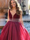 A-line V-neck Sweep Train Organza Velvet Beading Prom Dresses #PDS020105016